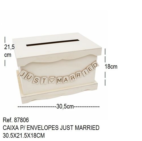 CAIXA P/ ENVELOPES JUST MARRIED 30.5X21.5X18CM